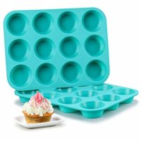 Silicone Muffin Pan Set - Cupcake Pans 12 Cups Silicone Baking Molds,BPA Free 100% Food Grade, Pinch Test Approved, Pack of 2