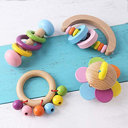 Organic Toddler Wooden Toys Wood Teether Rattles