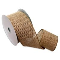 "Morex Ribbon Burlap Wired ibbon, 2.5"" x 10 Yd, Natural (1252.60/10-004),"
