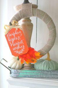 fall burlap wreath on table