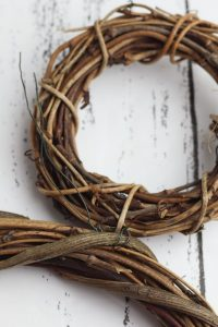 grapevine wreaths tied together with wire