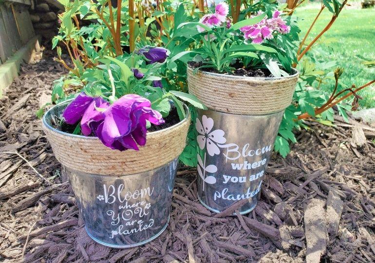 diy crafted tin planter