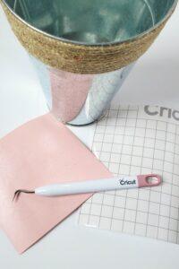 cricut essentials and galvanized container for craft