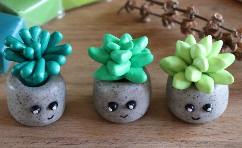 clay succulents sitting on wooden counter
