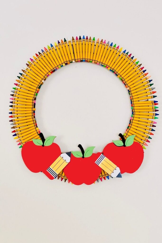 view of a crayon wreath on wall