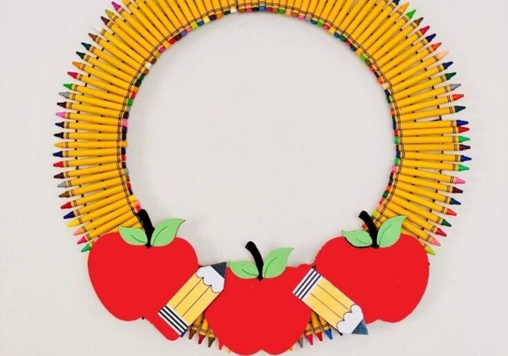 crayon wreath hanging
