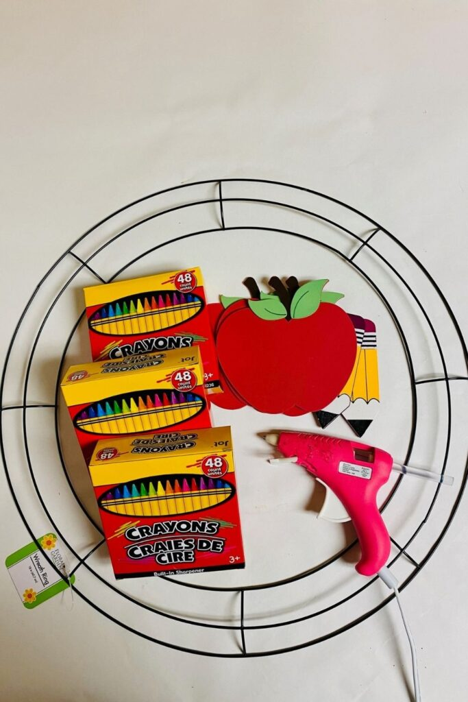 supplies on counter for a crayon wreath