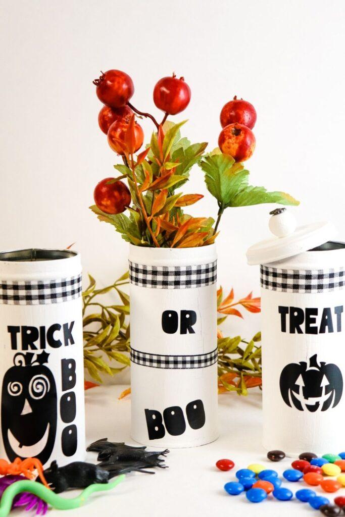 Halloween Dollar Tree Craft with Halloween tins painted