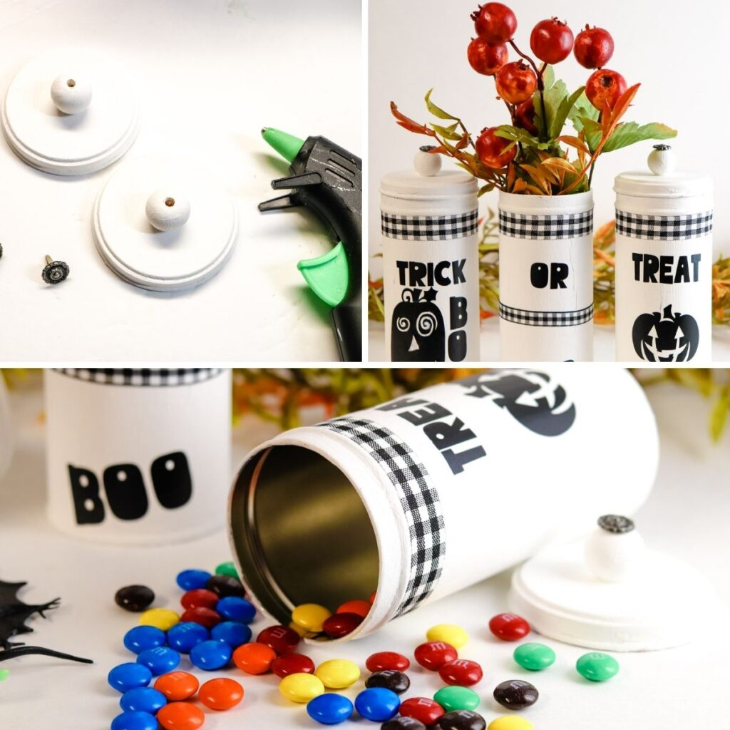 collage on how to glue knobs in containers and displayed Halloween tins